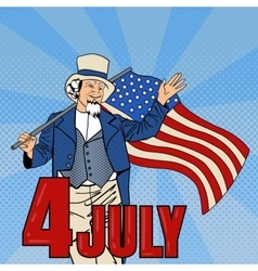 USA Independence Day Man with American Flag vector image
