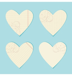 Valentine paper hearts vector image vector image