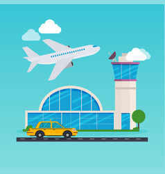 airport area flat design modern concept vector image vector image