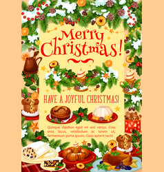 Christmas dinner greeting banner with turkey cake vector