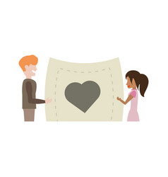 couple romantic paper with heart image vector image