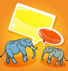 Elephants with speech bubbles vector image
