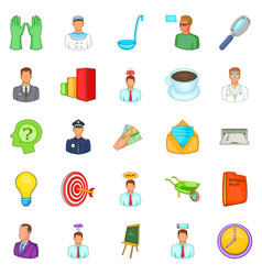 job offer icons set cartoon style vector image