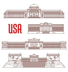 USA travel landmarks icon of architectural sights vector image vector image