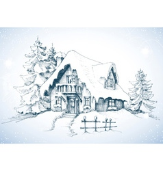 Winter idyllic landscape pine trees and house in vector image vector image