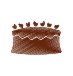 Drawing cake chocolate eating vector