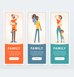 family banners set happy and tired parents with vector image vector image
