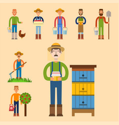 farmer character man agriculture person profession vector image vector image