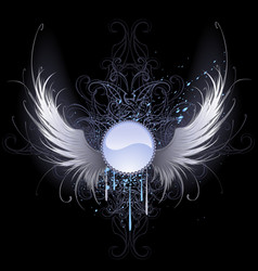 Round banner with angel wings vector