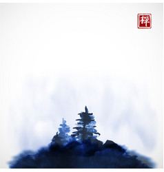 Stylized blue ink wash painting with pine trees on vector