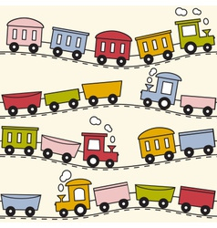 Train and rails - seamless pattern vector image