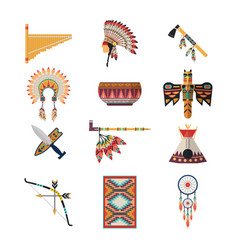 american indian symbols bow axe headdress vector image