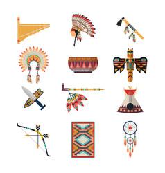 American indian symbols bow axe headdress vector