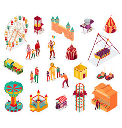 amusement park isometric set vector image