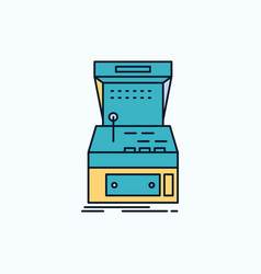 arcade console game machine play flat icon green vector image