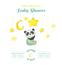Baby Shower Card - Baby Panda Catching Stars vector image