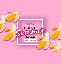 Banana super summer sale banner in paper cut style vector