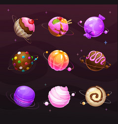 beautiful sweet round planets candy world vector image