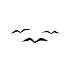 black hand drawn flying bird silhouette vector image
