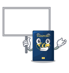 Bring board blue passport in the cartoon form vector