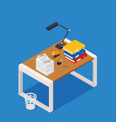 Busy cluttered office table hard work office vector