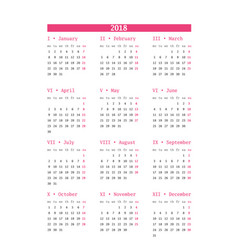 Calendar for 2018 year on white background design vector