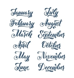 calligraphy months year set make your own vector image