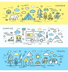 Camping Banner Set vector image