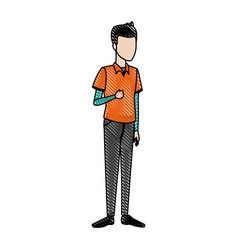 Cartoon guy student standing in casual clothes vector