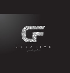 Cf c f letter logo with zebra lines texture vector