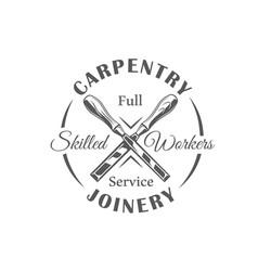 Chisels modern carpentry label vector