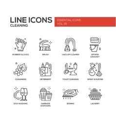 Cleaning - line design icons set vector image