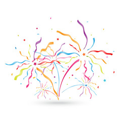 colorful confetti blowing out with ribbon vector image