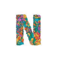 Colorful ornamental alphabet letter n font vector