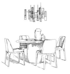 Comfortable modern interior hand drawing vector