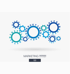 connected cogwheels digital marketing system vector image