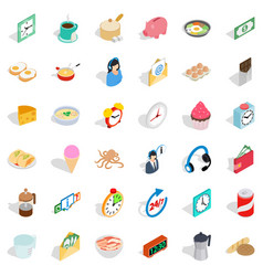Cooking in kitchen icons set isometric style vector