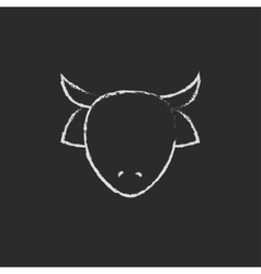 Cow head icon drawn in chalk vector image