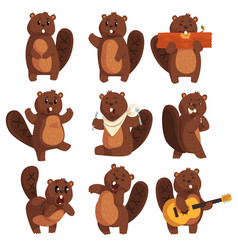Cute funny character beaver in different actions vector
