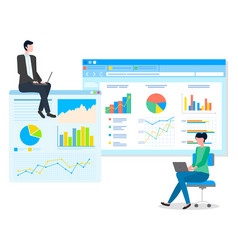 data analysis teamwork statistical analytics work vector image