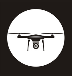 Drone icon in circle copter with camera aerial vector
