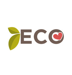 eco word with heart vector image