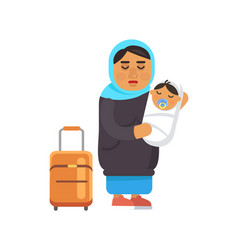 Female refugee with newborn baby and suitcase vector