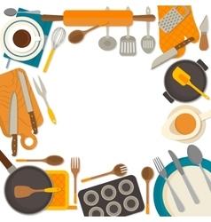 flat design frame kitchenware isolated on white vector image