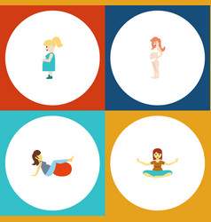 flat icon pregnancy set of sport pregnant woman vector image