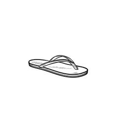 flip flop sandal hand drawn outline doodle icon vector image