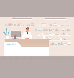 friendly male pharmacist standing at counter in vector image