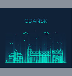 gdansk skyline poland big city linear style vector image