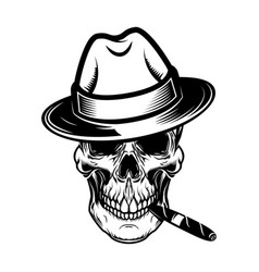 gentleman skull with cigar design element for vector image