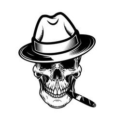 gentleman skull with cigar design element vector image